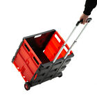 Folding Trolley Rolling Shopping Cart Collapsible Basket 2-wheel Plastic Picnic