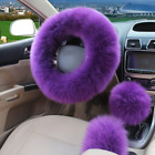 3Pcs Plush Fuzzy Steering Wheel Cover Purple Wool Handbrake Car Accessory Purple