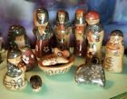 11 PIECE VTG MEXICAN HAND PAINTED TONALA FOLK ART NATIVITY CRECHE 4 TALL