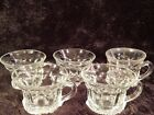 Lot Of 5 HEAVY Clear Glass Punch Cups Mugs 6 Sided With Handle