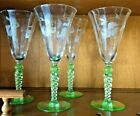 4 Etched Green Stemware wine or water  glasses 8