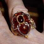 Gems en Vogue Amber Ring Two Tone 925SS  18K w Sapphire Accents Euro Shank