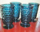 4 VINTAGE INDIANA GLASS WHITEHALL RIVIERA BLUE CUBIST 6
