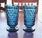2 VINTAGE INDIANA GLASS WHITEHALL RIVIERA BLUE CUBIST 6