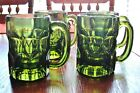 4 Vintage Green Indiana Glass Mugs/ Glasses, Heavy with Handles, 4.5