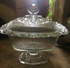 Vintage Antique C.1950s Indiana Clear Glass Rib Lace Edge Lid Candy Compote Dish