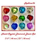 Heart Crystal Diamond Paperweight Decor Set Multiple Colors  Sizes 40 50 mm