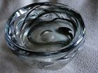 Whitefriars Streaky Knobbly Art Glass Bowl Deep Green  Clear 2 1 4 Tall Vintage
