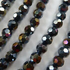 1000pcs AB black glass crystal Round Faceted loose bead 6mm
