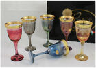 Set of 6 Stemmed Wine Glasses Water Goblets Muticolor w Gold Rim Made in Italy