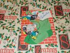 1940s VTG CHRISTMAS GREETING CARD UNUSED MOUSE ON PHONE IN STOCKING