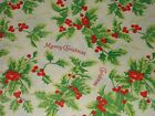 VTG MERRY CHRISTMAS 1940 WW2 WRAPPING PAPER FROM STORE ROLL 2 YARDS HOLLY BERRY