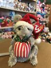 """Ty JINGLEMOUSE -Grey Holiday Mouse 6"""" Beanie Baby! *Retired* RARE"""