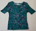LuLaRoe Gigi Top Size Large Green Background Blue Pink Floral Pattern Fitted X