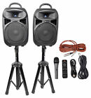 Rockville RPG082K Dual 8 Powered PA System Speakers Bluetooth+Mic+Stands+Cables