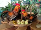 Realistic Chickens Rooster Hen Chicks Real Feathers Lifelike Figurine 5H X 8