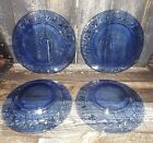 2 Bowls Ocean Waves Swooshes Swirls Cobalt
