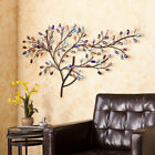 Large Colorful Tree Wall Art Sculpture Metal Branches Glass Leaves Stones Boho