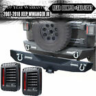 Textured Rear Bumper+Tail Light Fit 07 18 Jeep Wrangler JK w LED Lights