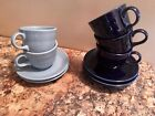 Fiestaware Cobolt And periwinkle Colors 5 Tea Cups and 5 Saucers Made in USA