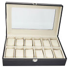 12 Compartments Opening Style Leather Watch Collection Box Cases Black