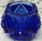 Blue Vaseline glass salt dip cellar celt FOOTED DIAMOND pattern uranium Cobalt