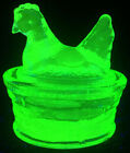 Green Vaseline glass salt dip hen chicken on nest basket dish uranium cellar art