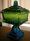 Vintage JEANNETTE Blue Green Glass Pedestal Covered Candy Dish Footed Compote
