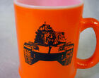 Vintage SHERMAN TANK Coffee MUG Tea CUP Orange GEORGE S. PATTON Museum FIRE KING