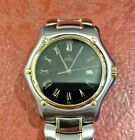 EBEL 1911 MENS STAINLESS & 18K GOLD WATCH BLACK DIAL ROMAN NUMERALS EXCELLENT