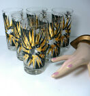 6 Vintage Mid Century Atomic 12oz Glass Tumblers Black /Gold Sign Gay Fad 5.5