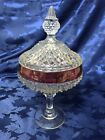 Lovely Indiana Glass Clear Diamond Point Covered Compote w/ Ruby Rim Candy Dish
