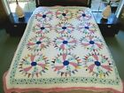STRIKING Vintage Hand Pieced  Quilted Feed Sack FLYWHEEL Quilt Needs TLC FULL