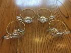 Vintage Jeannette Camellia Teacups set of 4 with gold trim, Very Hard to Find