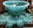FENTON Green OPALESCENT Hobnail PUNCH Bowl 12 Cup Set with Original Label