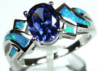 Tanzanite  Blue Fire Opal Inlay Solid 925 Sterling Silver Ring size 6789