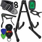 Guitar Accessories Kit Stand Clip on Tuner Strap w Locks Capo 4 Assorted