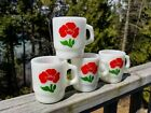 Set/4 VINTAGE Mid-Century Fire King/Anchor *RED POPPY* Milk Glass Stacking MUGS
