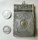 Antique Art Nouveau Silver Tone Floral Notebook Writing Pencil Aide Memoire