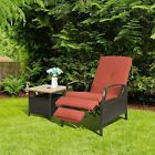 Outdoor Pool Chaise Lounge Chair Recliner Cushioned Patio Furniture Adjustable