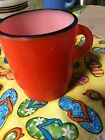 Fire King STACKABLE GLASS COFFEE MUG RED with BLACK RIM Anchor Hocking C Handle