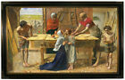Millais Jesus in the house of his parents Wood Framed Canvas Print Repro 19x32
