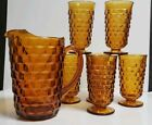 Vtg 7 Pc Set Indiana Colony Whitehall Amber ~ 52 Oz Pitcher, 6 Iced Tea Tumblers