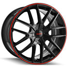 Touren TR60 17x75 4x100 4x45 +42mm Black Red Wheel Rim 17 Inch