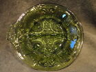 Indiana Pressed Glass Relish Dish Avocado Green 2 Section Handle Vintage