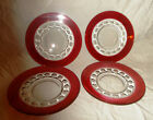 Set of 4 Indiana Glass Kings Crown Ruby Red Luncheon Plates 8 1/4