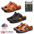 Mens Leather Sports Sandals Holiday Beach Shoes Fisherman Beach Summer Slippers