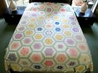 WELL USED Vintage Feed Sack Hand Sewn FLOWER GARDEN Thin Quilt 91 x 72