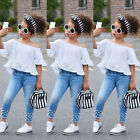 USA Toddler Kids Baby Girls Tops T shirt Denim Long Pants Jeans Outfits Clothes