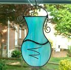 Stained Glass Air Plant Holder Hanging Wall Vase Blue Iridescent Vase